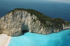 Greek coast, rock at Zante Royalty Free Stock Image