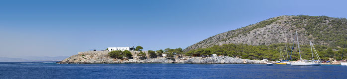 Panoramic shot of a coast at Agistri. Island, Greece Stock Photo