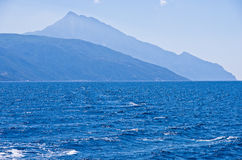 Greek coast of aegean sea near holy mountain Athos Stock Image