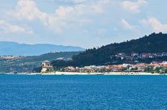 Greek coast of aegean sea near holy mountain Athos Royalty Free Stock Photo