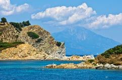Greek coast of aegean sea near holy mountain Athos Royalty Free Stock Images