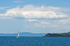 Greek coast of aegean sea near holy mountain Athos Stock Image