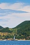 Greek coast of aegean sea near holy mountain Athos Stock Photography