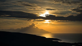 Greek coast of aegean sea at sunrise near holy mountain Athos Stock Image