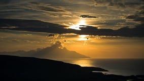 Greek coast of aegean sea at sunrise near holy mountain Athos Stock Image