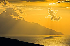 Greek coast of aegean sea at sunrise near holy mountain Athos Royalty Free Stock Photography