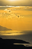 Greek coast of aegean sea at sunrise near holy mountain Athos Stock Photography