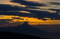 Greek coast of aegean sea at sunrise near holy mountain Athos Stock Images