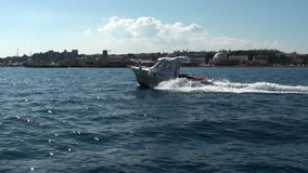 Greek coast guard boat sailing in the Gulf of Rhodes stock video