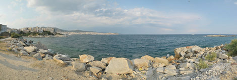 Greek Coast Panorama Royalty Free Stock Images