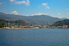 The greek coast from the sea. Beautiful blue sky and hills makes a nice view from the sea in Greece Stock Images