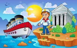 Greek coast with ship and sailor. Eps10 vector illustration Stock Photo
