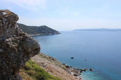 Greek coast 2. View point from the southern tip of a greek island looking out to another greek island Royalty Free Stock Photo