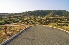 Greek coastal road at morning in Sithonia, Chalkidiki Royalty Free Stock Images