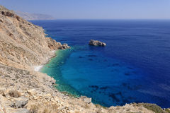 Greek coastline with blue sea Royalty Free Stock Images
