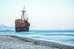 Greek coastline with the famous rusty shipwreck in Glyfada beach near Gytheio, Gythio Laconia Peloponnese. Greek coastline with the famous rusty shipwreck in royalty free stock images