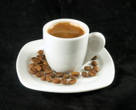 Greek coffee. Cup of coffee with coffee beans stock photo