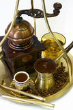 Greek coffee. A photo with greek coffee and coffee machine stock photography