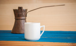 Greek coffee on a blue table Stock Photo