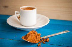 Greek coffee on a blue table Royalty Free Stock Photos