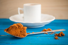 Greek coffee on a blue table Royalty Free Stock Images