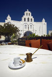 Greek coffee and church Stock Photography