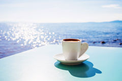 Greek coffee. A cup of coffee on table, traditional greek coffee Stock Photography