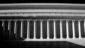 Greek Collonade, Legion of Honor, San Francisco, Monochrome. Bright sunlight and deep shadow paint the Greek columns of the Legion of Honor in San Francisco Royalty Free Stock Images