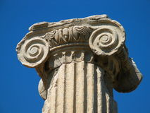 Greek column. Detail of a column in ancient city of Ephesus Royalty Free Stock Images