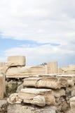 Greek Column. Ruins at acropolis hill Stock Photos