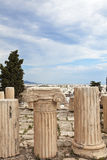 Greek Column. Ruins at acropolis hill Stock Images