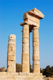 Greek columns. Ruins of the anciant temple Royalty Free Stock Photography