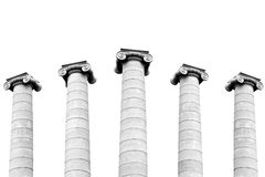 Greek columns. Black and white greek columns isolated on a white background Royalty Free Stock Images