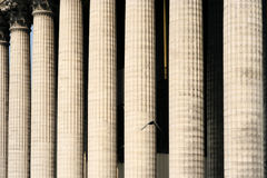Greek Columns. Of the church of Madeleine in Paris with a flying bird stock images