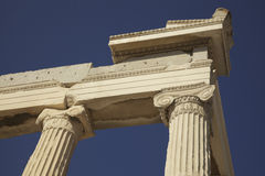Greek Columns Acropolis. Greek marble columns on the Acropolis, Athens Greece Stock Photos