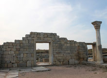 Greek columns and arch, Chersonese, Crimea Royalty Free Stock Images