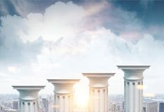 Greek columns, cityscape background. Greek columns of different heights standing against a cityscape background. Concept of financial growth. 3d rendering mock Stock Image