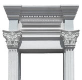 Greek columns gate. White plaster and marble isolated Royalty Free Stock Photo