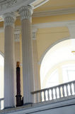 Greek columns in the interior of the building Stock Image