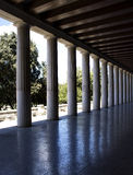 Greek columns reflection. Day time Stock Photos