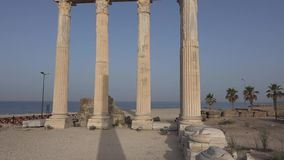 Greek columns. The ruins of ancient buildings, the classic Greek columns stock video footage