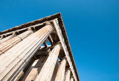 Greek columns in Athens. Ancient Greek columns from the Temple of Hephaestus in Athens Greece with copy space for text Royalty Free Stock Photos