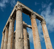 Greek columns of the Temple of Olympian Zeus. Ruins at the Temple of Olympian Zeus in Athens Greece Royalty Free Stock Images