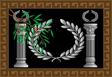 The greek columns and wreath Stock Images