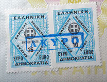 Greek consular stamp on a passport Stock Images