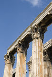 Greek corinthian capitals topped by lintel. Ruins of Olympian Zeus Temple - Athens Stock Photo