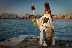 Greek costumed masked woman. At San Giorgio in Venice Stock Image