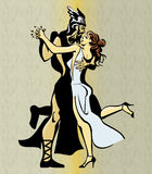 Greek Couple Tango Dance. Greek Couple Dancing Tango, nice position & cheerful background royalty free illustration