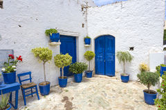 Greek courtyard Stock Photo