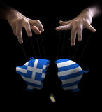 Greek crash and puppet master Royalty Free Stock Photos